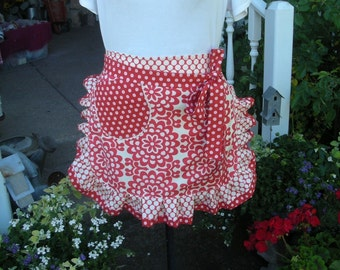 Womens Aprons - Amy Butler Aprons - Wall Flower Aprons - Handmade Amy Butler Fabrics Apron - Annies Attic Aprons - Red Aprons - Waist Aprons