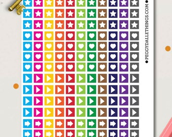 Mini Rainbow Checklist Planner Stickers | Bullet Journal Stickers | Checklist Stickers