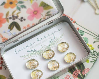 "6 Glass Magnets - Set of Magnets- Floral Magnets - Fridge Magnets ""Gold Rose"""