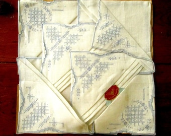 3 Hand Embroidered Linen Hankies Made in Ireland, New Old Stock FREE SHIPPING