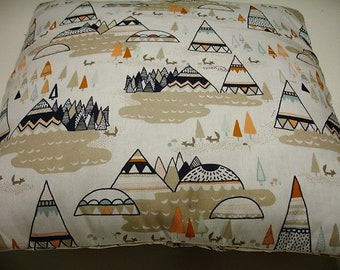 Woodland Teepees Pillow Sham 14 x 14 READY TO SHIP