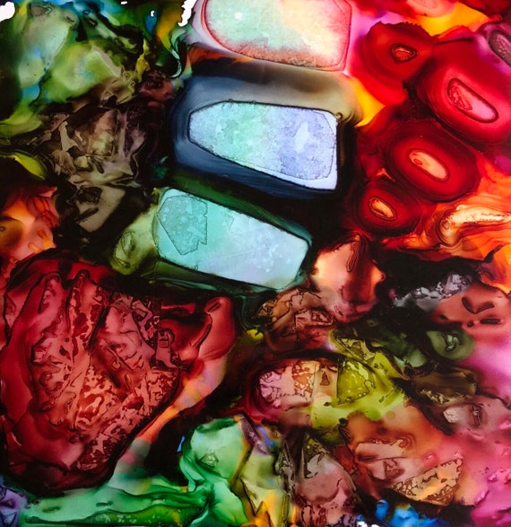 """Original Alcohol Ink Abstract: """"Level Up"""" (20"""" x 20"""")"""