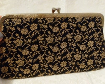 Small black and gold clutch vintage