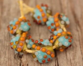 Mini Lentils #2- A set of 6 lampwork beads