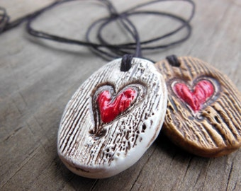 Essential Oil Diffuser Necklace, Heart Carved into Tree Texture Ceramic Pendant, Handmade Oval Romantic Valentine's Gift Love Jewelry