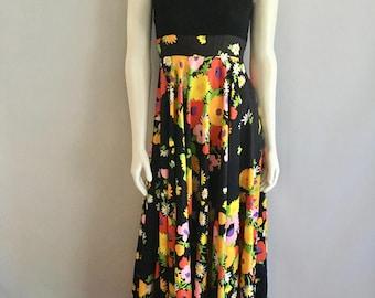 Vintage Women's 70's Maxi Dress, Black, Floral, Full Length by Carlette (XS/S)