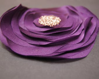 Artificial Chiffon Silk Flower Violet Beaded Brooch Fake Faux Rose Textile Flower Pin Wedding Prom Evening Accessory Fabric Flower Clasp Pin
