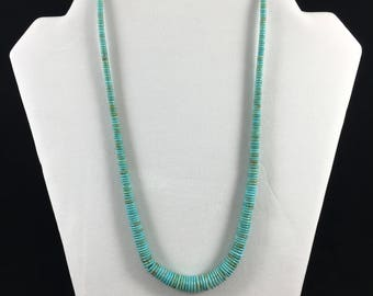 Turquoise Disc Bead Necklace, 20 inches