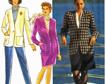 Simplicity 7489 Woman High-Waisted Tapered Pants, Shorts and Pencil Skirt, Lined Semi-Fit Jacket Sewing Pattern Sz 12-16 Vintage 1990s UNCUT