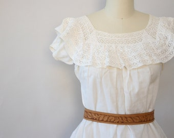 clementina ruffle boho blouse vintage