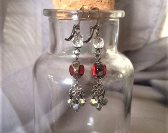 Maroon, Silver, and Crystal Flower Dangle Tiered Earrings; Crystal Flower Earrings; Flower Dangle Earrings; Crystal and Black Flower Earring