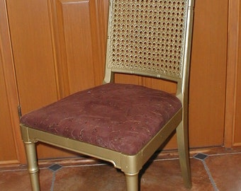 vintage 1960s  70s Asian Bamboo inspired Side Chair gold paint Chocolate Brown seat  Sequins Hollywood regency PU Chicago Area IL 60461