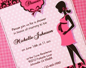 Glam Pink and Black Baby Shower Party Printables Supplies & Decorations
