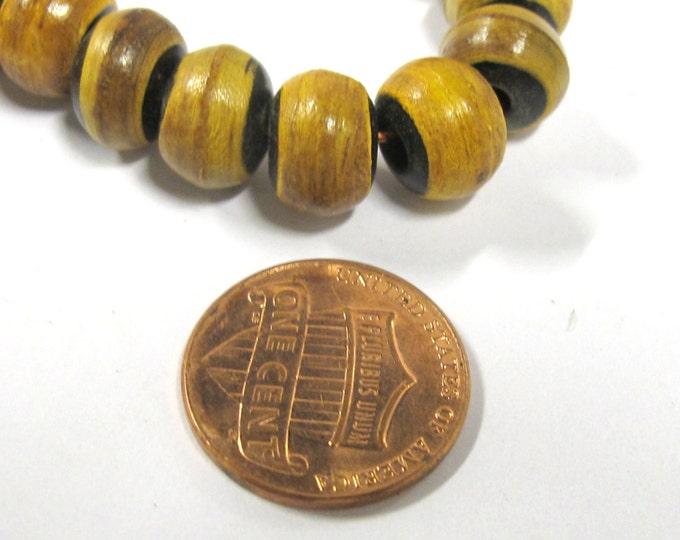 10 BEADS - Tibetan rondelle shape  burnt horn beads 10 mm size - ML032B