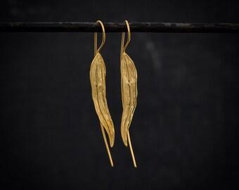 Long Earrings, Leaf Earrings, Gold Drop Earrings, Statement Earrings, Unusual Earrings, Gold Vermeil