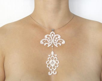 Necklace White Pearl lace white wedding ceremony