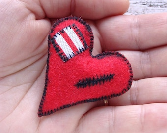 Sutured heart pin Wounded heart brooch Felt heart pin Primitive heart gift Patched heart bauble Broken heart accessory Charred heart bijou