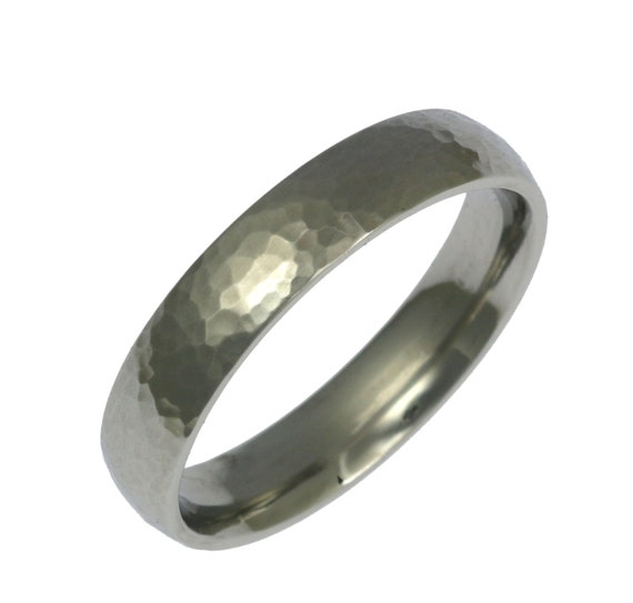 5mm Hammered Stainless Steel Mens Comfort Fit Wedding Band