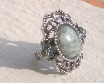 """Indian Agate and rhinestone"" ring"