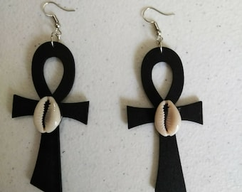 Black Ankh African earrings/ Hand Made Earrings/Women's Earrings/ Afrocentric Earrings