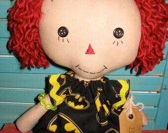Primitive Annie Ann Raggedy Doll-Rag Doll-Batman Fan Girl One of a Kind Handmade