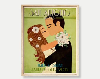Vintage Wedding Poster Retro Wedding Print Personalized Wedding Poster Custom Couple Gift Wedding Anniversary Gift Custom Wedding Portrait