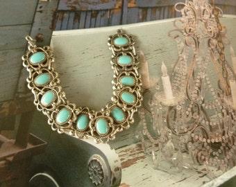 Elegant Vintage Turquoise paste Bracelet. 50's Bracelet