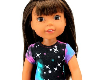 Fits like Wellie Wisher Doll Clothes - Galaxy Print Trendy Tee | 14.5 Inch Doll Clothes