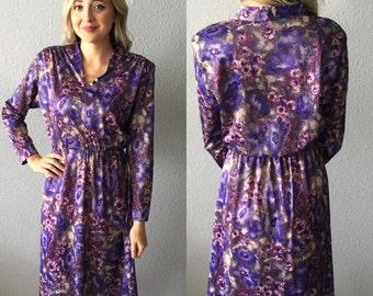 1970's Bohemian Floral Vintage Midi Dress by Blair