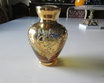 AMBER VASE with Hand Painted Decoraiton