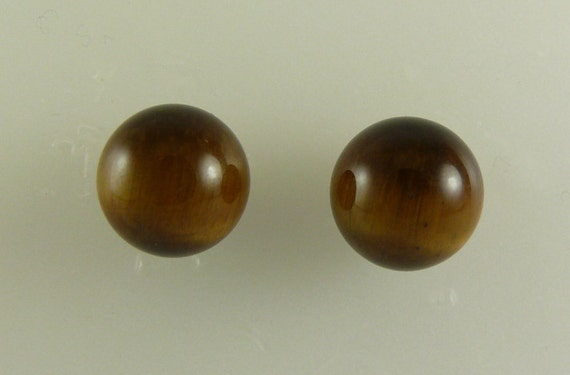 Tiger Eye 12.05mm Stud Earrings 14k Yellow Gold Post & Push Backs