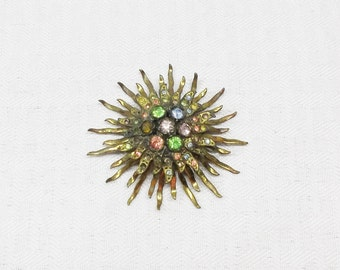 1940s Vintage Sunburst Brooch with Colorful Rhinestones