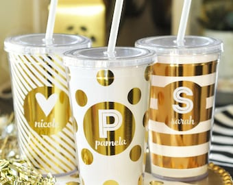 Bridesmaid Cups - Bridal Party Tumblers - Maid of Honor Cups - Monogram Cup - Gold Tumblers - Tumbler Cups with Straw (EB3111FW)