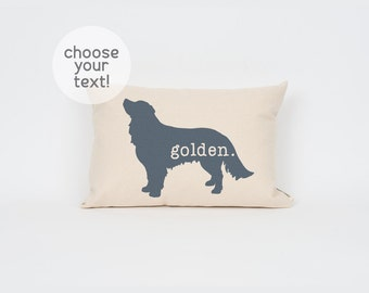 "Custom Golden Retriever Pillow 12""x18"" // Golden Retriever // Dog Breed Pillow // Dog Mom // Dog Breed Art // Gift for Dog Lover // Pet Gift"