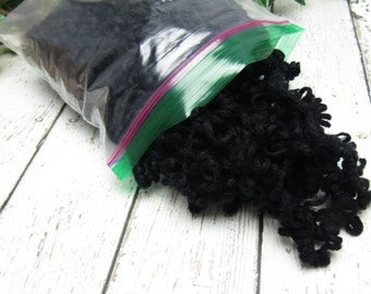 Black Curly Yarn Hair for Your Handmade Dolls
