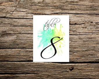 Wedding Table Numbers- Table Number Cards- Table Cards- Wedding Number Cards- Watercolor