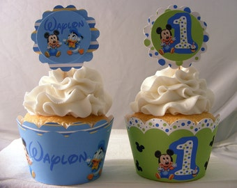 Baby Mickey Mouse Inspired Personalized  Cupcake Toppers and Wrappers