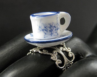 Teacup Ring. Blue and White China Cup Ring. Silver Filigree Adjustable Ring.. Handmade Jewelry.