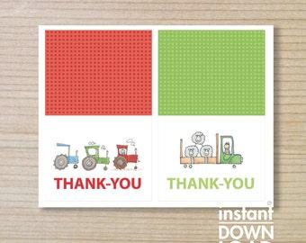 """FARMER truck and tractors  - Thank-you -  farmer thankyou - printable thankyou - downloadable - farmer thankyou - farm tractors - 5x4"""""""