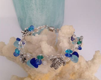 Sterling silver sea glass and sea turtle crocheted bracelet