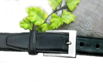 men's Black Leather belt - unisex belt - men's belt , man's belt , dress belt , silver buckle belt, size 36 ,  # B 21