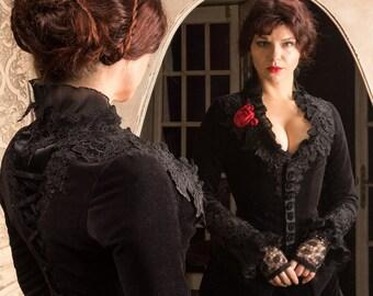 Victorian dress costume, Jacket and skirt, velvet, black dress, Crimson peak