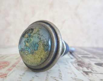 Wine Bottle Stopper - Gold Map Wine Stopper
