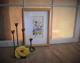 Vintage Pressed Flower Print Floral FRAMED Print of Pressed Flowers Pretty FLORAL Print Botanical Art Print