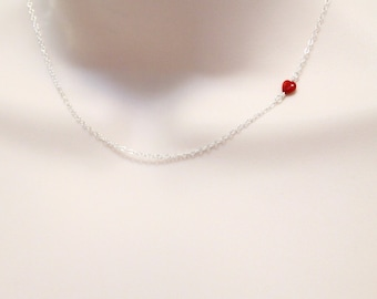 Tiny Heart Necklace, Off Center Charm, Sideways Necklace, Delicate, Dainty Red Coral Necklace, Minimalist, Sterling Silver, Gift for Women