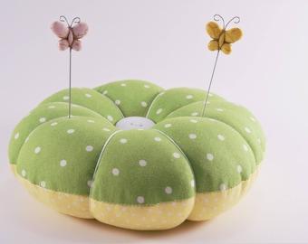 Retro Polka Dot Pincushion, Large Reversible Pincushion, Green and Yellow Polka Dot Pincushion with decorative pins, Mothers Day gift