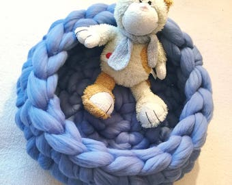 Large Cat or Dog bed, 19 inches, chunky wool knitted pet bed, arm knit, handmade crocheted furniture cave basket nest mat house, bedding.