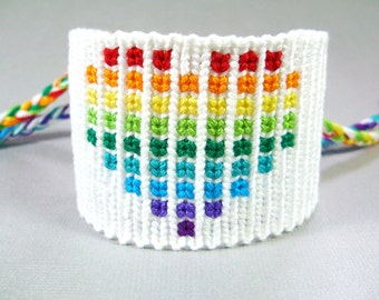 Rainbow Heart Friendship Bracelet - Black or White