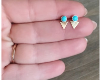 Turquoise Gold Triangle Stud Earrings // Sterling Silver Studs // Geometric Earrings // campitos mine turquoise // Minimalist Earrings