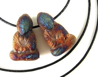 4 Buddha Beads, Sitting Buddha, 22mm, Raku Buddha Beads, Buddha Amulet, Zen Bead, Tribal Buddha, Primitive Buddha, Raku Buddha SC04